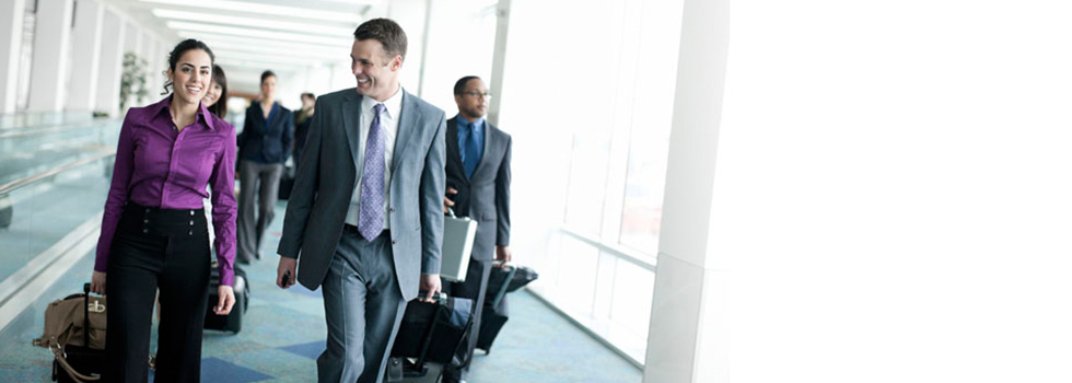 business people on corporate travel