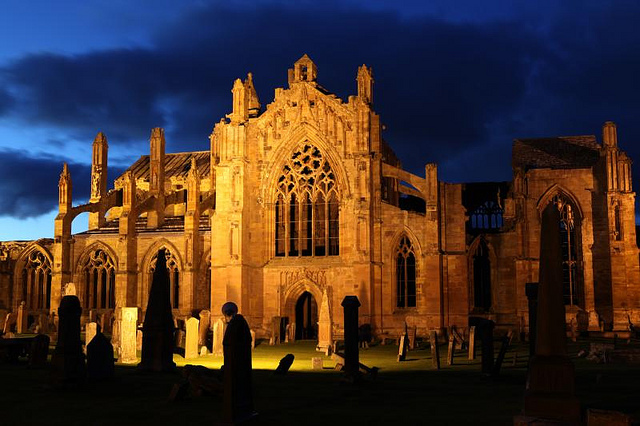 Night shot of Melrose Abbey by Holly Hayes